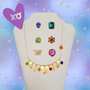 "SET ""DAYDREAM CHARMY"" NECKLACE & EARRINGS MULTI"